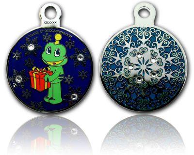 Signal Christmas Geocoin Poliertes Silber Smaragd