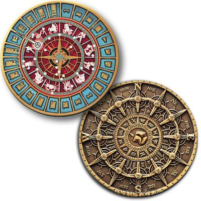 Time and Space Geocoin Antik Bronze