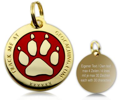 Cacher's Dog Geocoin Poliertes Gold ROT