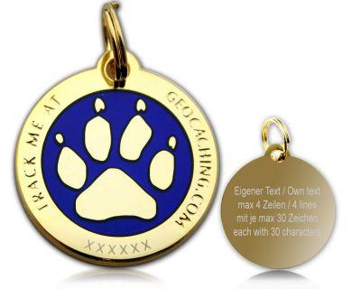 Cacher's Dog Geocoin Poliertes Gold BLAU