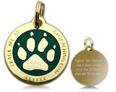 Cacher's Dog Geocoin Poliertes Gold GRÜN