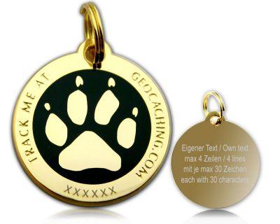Cacher's Dog Geocoin Poliertes Gold SCHWARZ