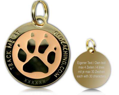 Cacher's Dog Geocoin Poliertes Gold GLOW