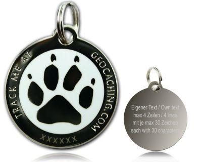 Cacher's Dog Geocoin Poliertes Silber WEISS