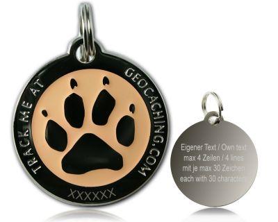 Cacher's Dog Geocoin Poliertes Silber GLOW