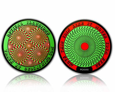 Optical Illusions Geocoin - Psychedelic Green