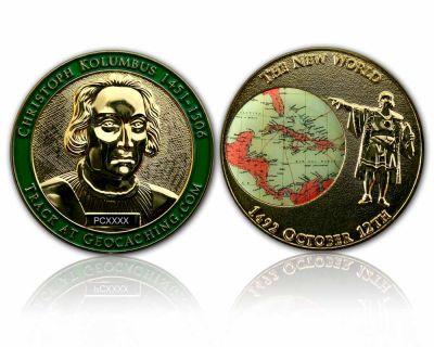 Christoph Kolumbus Geocoin Poliertes Gold XLE 50