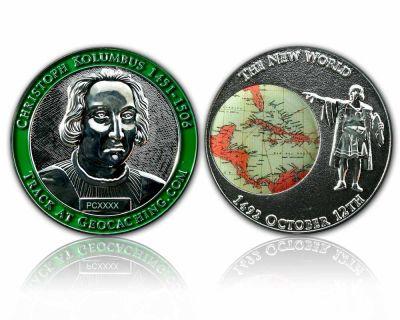 Christoph Kolumbus Geocoin Poliertes Silber XLE 50