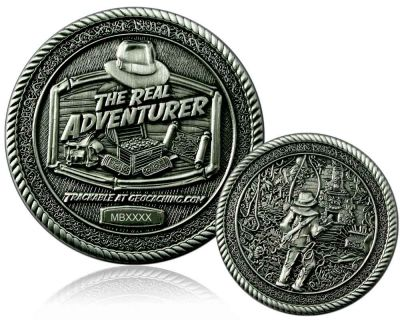 The Real Adventurer Jungle Geocoin Antik Silber