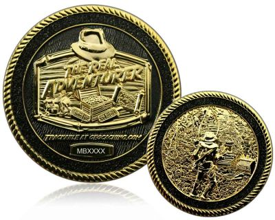 The Real Adventurer Jungle Geocoin Black / Gold LE 100