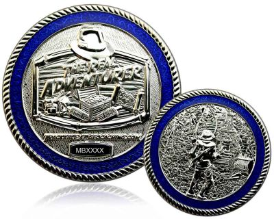 The Real Adventurer Jungle Geocoin Rhodium LE 100