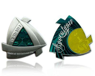 Apocalypse Geocoin - Special Version Antik Silber Green