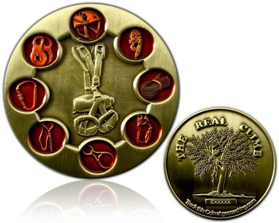The Real Climb Geocoin Antik Gold