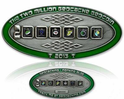 2 Million Geocache Geocoin Antik Silber