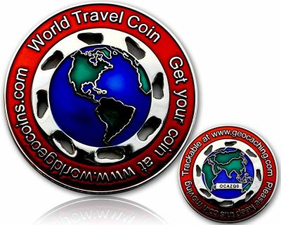 World Traveler Geocoin - Silber / Rot