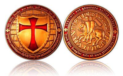 Templar Geocoin Antik Kupfer