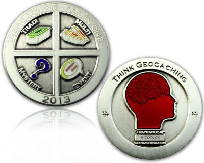 Geocaching - All In One Geocoin 2013 Antik Silber