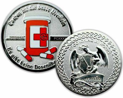 Cachen ist die beste Medizin Geocoin Pol Silber XLE 75