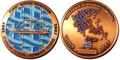 First Greek Geocoin Antik Kupfer LE