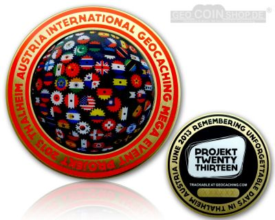 Projekt Twenty Thirteen Event Geocoin Antik Gold LE 200