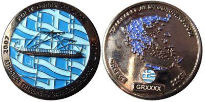 First Greek Geocoin Black Nickel LE