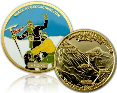 Mount Everest Geocoin Satin Gold XLE 75