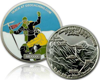 Mount Everest Geocoin Satin Silber XLE 75