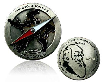 The Evolution of a Geocacher Geocoin Antik Silber