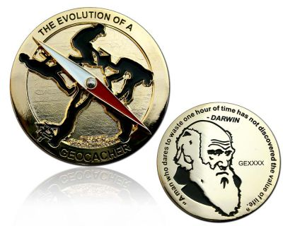 The Evolution of a Geocacher Geocoin Poliertes Gold LE 150