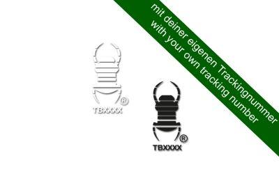 kleiner Groundspeak Travelbug® Aufkleber mit deinem Trackingcode