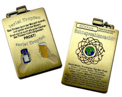 Schnapszahl Geocoin - Flasche Antik Gold (inkl. Kettchen)