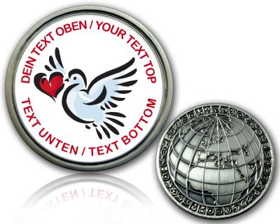Love and Peace Geocoin mit deinem Text