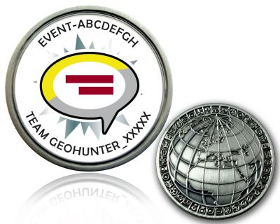 Geocaching Event Geocoin V1 mit deinem Text