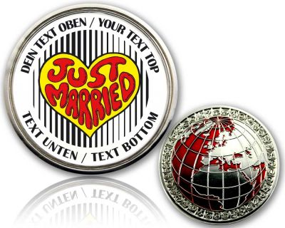 Just Married - Heart Geocoin mit deinem Text