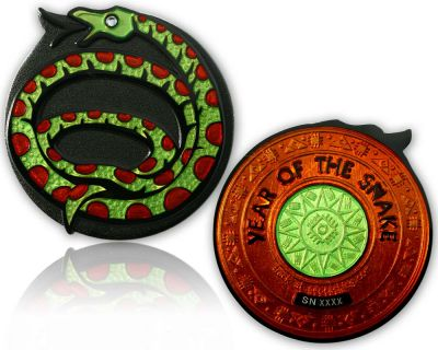 Year of the Snake Geocoin Black Nickel / Bernstein