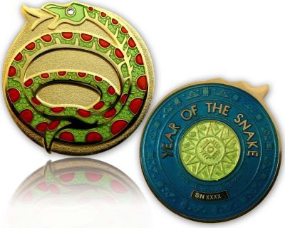 Year of the Snake Geocoin Poliertes Gold / Jade LE 100