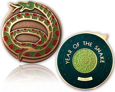 Year of the Snake Geocoin Antik Kupfer / Smaragd XLE 75