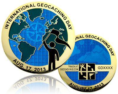 International Geocaching Day Geocoin Poliertes Gold