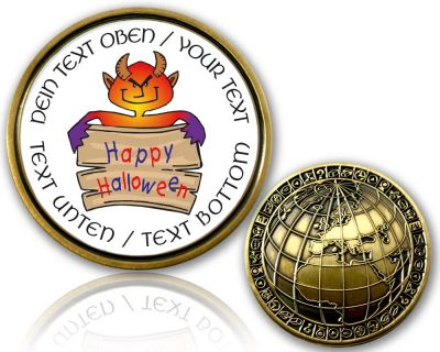 Happy Halloween Geocoin mit deinem Text