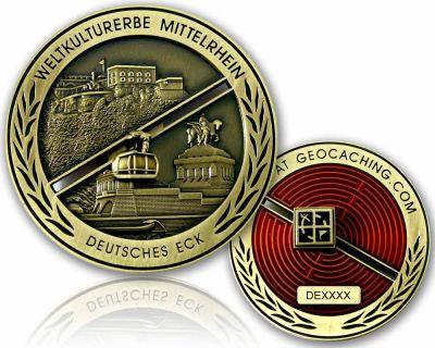 Deutsches Eck Geocoin Antik Gold