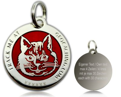 Cacher's Cat Geocoin Poliertes Silber ROT