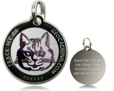 Cacher's Cat Geocoin Poliertes Silber WEISS