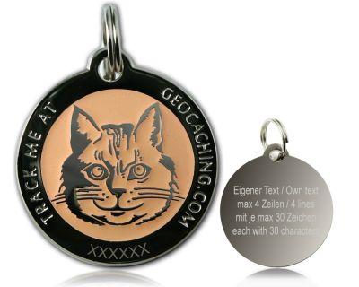 Cacher's Cat Geocoin Poliertes Silber GLOW