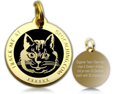 Cacher's Cat Geocoin Poliertes Gold SCHWARZ