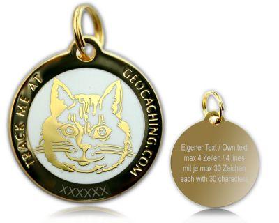 Cacher's Cat Geocoin Poliertes Gold WEISS