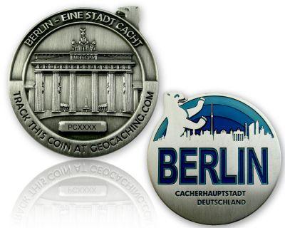 Berlin Geocoin Antik Silber - BLAU