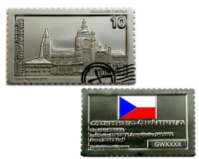 Geocacher's World Geocoin -CZECH REPUBLIC- Satin Silber XLE 75