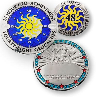 24 Stunden 48 Geocaches Geo Achievement Geocoin inkl PIN