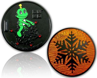 Merry Christmas - Signal Geocoin Black Nickel ORANGE LE 100