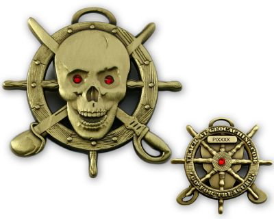 Pirate Skull Geocoin Antik Gold